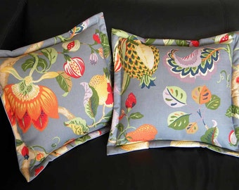 "Throw pillow cushion Jacobean style vegetation floral 15"" pomegranate pear passion flower pineapple vines leaves Josef Frank inspired"