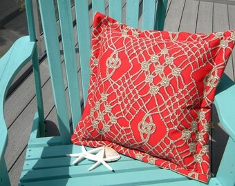 "Outdoor pillow SAILOR'S PASTIME knotted rope macrame' tan on red 20"" (50cm) square retired Scalmandre print weather resistent square knot"