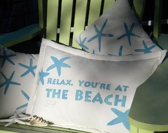 "Outdoor pillow RELAX YOURE at the BEACH 15""x20"" sea star beach house coastal ocean starfish resort all weather Crabby Chris Original"