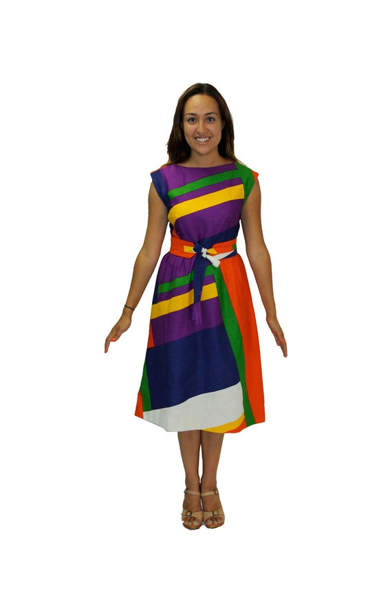 Vintage Dress - Color Block in Primary Colors