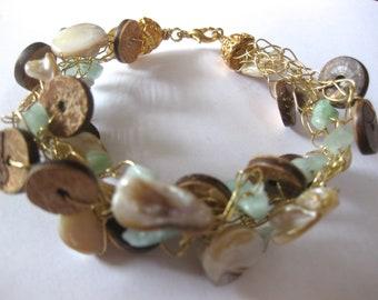Freshwater Pearl Gold Filled Crochet Bracelet