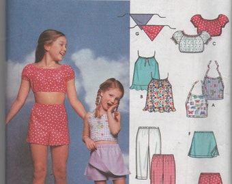 Easy To Sew Girls Summer Wardrobe Pattern Simplicity Pop Top Shorts Skort