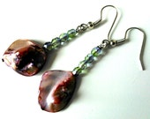 Winter Flower - Holiday Earrings - Pink Shell, Green Glass, Bead Earrings