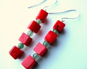 Holiday Earrings - Red and Green Earrings - Red Coral Cubes, Green Aventurine Small Round Beads, Colorful Winter Bead Earrings