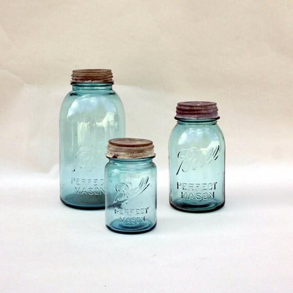 Vintage Ball Jars - Collection of 3 Aqua Sizes
