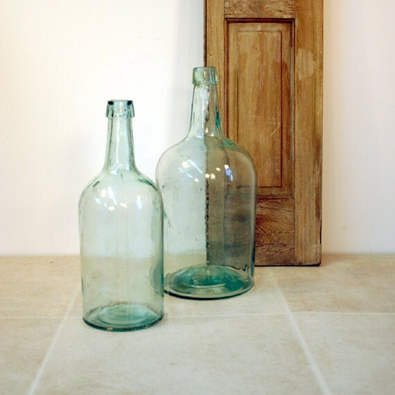 Vintage Aqua Glass Bottles / 1 Gallon and 1/2 Gallon Blue Green Bottle