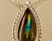 Spectrolite handmade Argentium Necklace