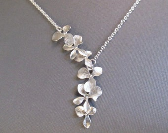 Flower Necklace, Silver Asymmetric Orchid Lariat, Bridesmaid Necklace, Wedding Jewelry, Bridal Jewelry
