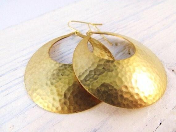 Statement Earrings, Gold Dangle Earrings, Tribal, Bold, Big Earrings, Fashion Jewelry