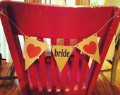 bride - wedding reception banner pennant flag chair sign