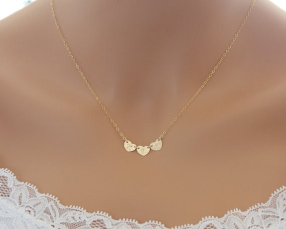 Personalized necklace - THREE initial Hearts side -by -side Gold Filled , customized monogram necklace , Options to choose number of Heart