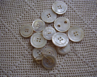 Vintage Buttons White Mother of Pearl 13 Pc.