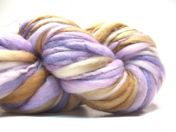 Super bulky thick and thin handspun yarn in merino wool- 50 yards, 3.1 ounces/ 90 grams