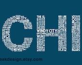 CHI Mini Print (5x7 Navy Blue Chicago IL Postcard)