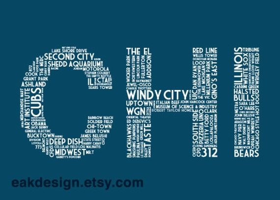 CHI Mini Print (5x7 Navy Blue Chicago IL Postcard)
