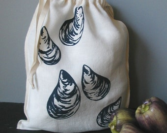 Organic Linen Drawstring Produce Bag- Screen Printed with Mussel Design- Gift Bag
