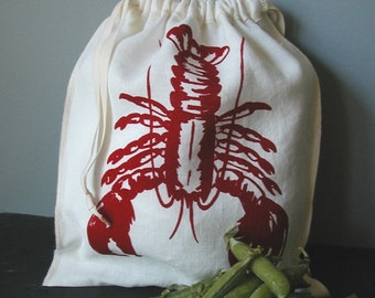 Organic Linen Drawstring Produce Bag- Screen Printed with Lobster Design- Gift Bag