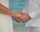 Tropical Beach Wedding Jewelry, Bridesmaids Beaded Cuff Bracelet - Crystals, Semi Precious Stones, Hand Knit HAWAIIAN ISLANDS Fashion