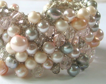 Silver Grey, Rosaline, ROSEY PEACH  CHIFFON, Freshwater, Swarovski Pearl Crystal Wide Hand Knit Wedding Statement Cuff, Sereba Designs