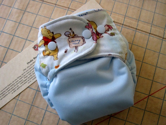 Winnie the Pooh, one sized pocket diaper with organic bamboo insert