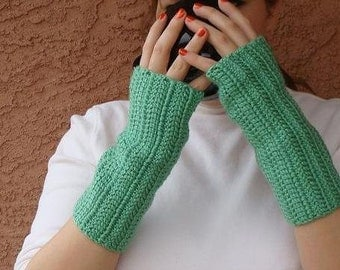 Light Sage Green Fingerless Gloves for Men or Women - Crochet Fingerless Gloves, Arm Warmers, Wrist Warmers, Fingerless Mittens, Mitts