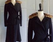 Vintage 1950s Dress Suit, 50s Black Suit, Wool Boucle and Mink Collar Womens Medium