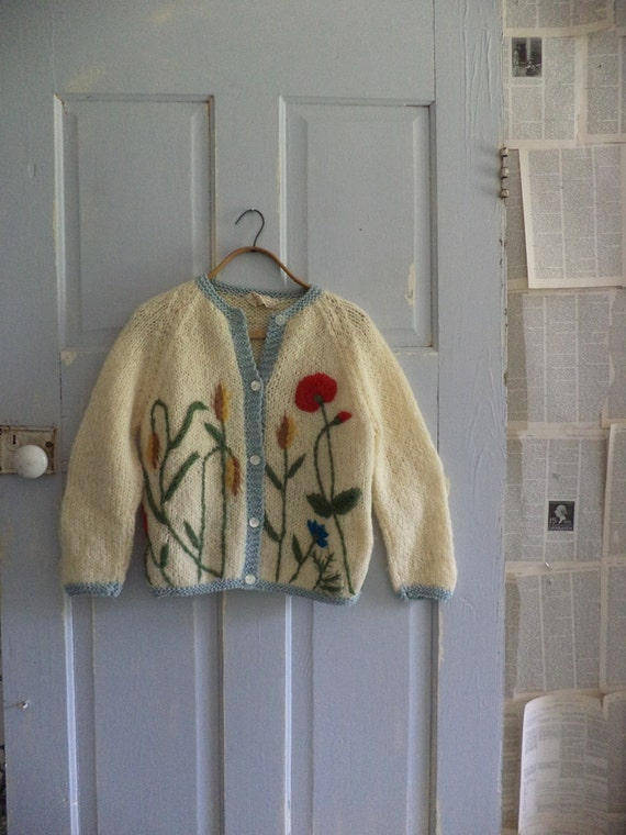 Vintage 1960s Sweater Floral Embroidered Mohair 60s Cardigan SM MED