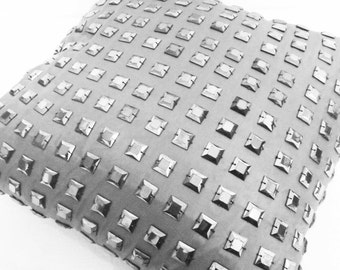grey cushion with square sequins grid -handmade pillow-charcoal grey sparkle fashion pillow-designer pillow-wedding pillow