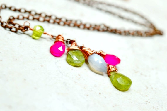 Gemstone Cluster Necklace, Peridot Rainbow Moonstone and Chalcedony on Copper, Y Necklace Organic Ombre Cascade