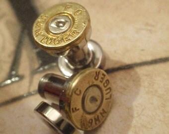Bullet ear plugs 9mm Bullet Plug Earrings Bullet Shell u pick your gauge ... Two Tone Gold & Silver