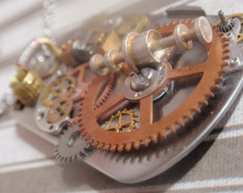"""Steampunk Industrial Clockwork necklace Vintage gears and parts on 18"""" Stainless steel chain"""