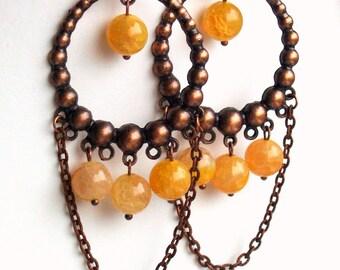 Dangle Chandelier earrings, Beaded Jewelry, Gypsy Copper Earrings, Long Bohemian Earrings, Dragon Vein Agate And Antiqued Copper Earrings
