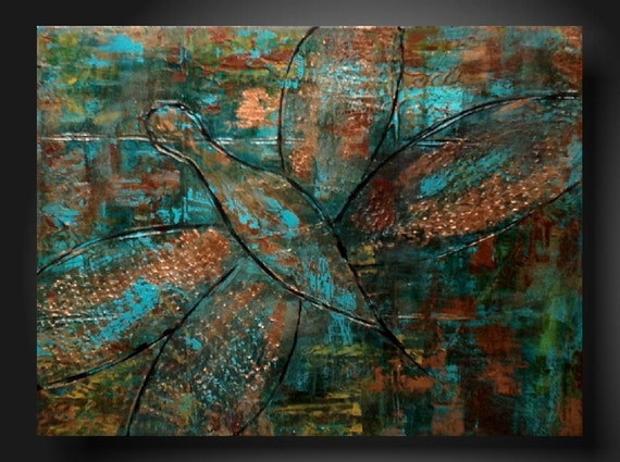 Art original Abstract painting Original Painting Art  JMJARTSTUDIO Original Painting 18 X 24 Inches--A gift--Copper--Textured---Dragonfly