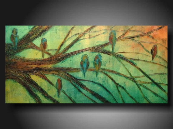 Art original Abstract painting Huge JMJARTSTUDIO Original PAINTING 18 X 36 Inches------- Between Us ---Textured Birds trees-----