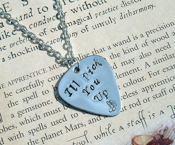 Guitar Pick Pendant Necklace Hand Stamped Ed Sheeran I'll Pick You Up