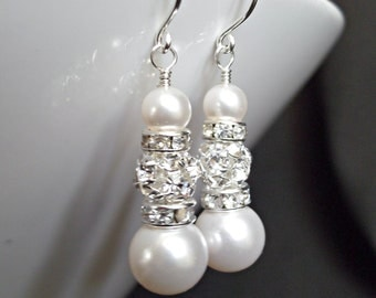 EARRINGS - Bridal Earrings Bridal Jewelry Bridesmaids Gift Wedding Bridal Party Gift Bridesmaids Jewelry Ivory White Champagne Pearl