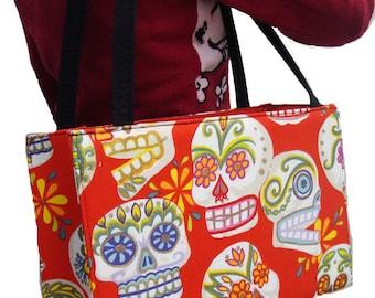 Skeleton Sugar Skulls Day of the Dead Rockabilly Gothic Halloween US handmade bag Alexander Henry Fabric Handbag Purse, new