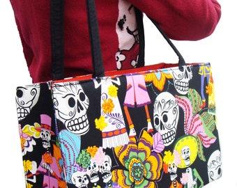 Skeleton  Skulls Los Novios Day of the Dead Rockabilly Gothic Halloween  US handmade bag Alexander Henry Fabric Handbag Purse, new