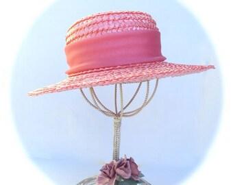 Pink Hat Straw with Chiffon Ribbon Vintage