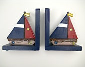 Primary colored sail boat book ends,sailboat bookends,navy and red,personalized bookends,nautical bookends,nautical room decor,boys bookends