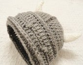 Crocheted Little Viking Helmet Grey with Horns Beanie By Distinctly Daisy