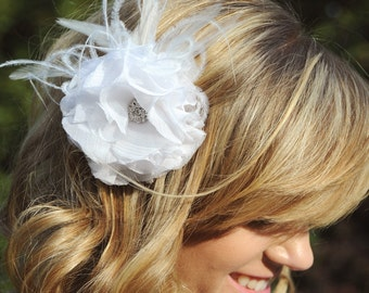 Bridal Silk Hair Flower feather fascinator with Crystal Rhinestone in white or natural, wedding hair piece - Regina peony