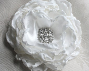 Off white Peony Crystal hair Flower comb / Clip wedding head Piece