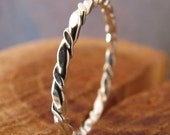 Skinny Argentium Sterling Silver Twisted Stacking Ring, Knuckle Ring