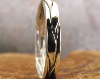 Flat Braided Argentium Silver Stacking Ring