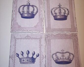 Vintage Crowns Journaling Tags set of 8