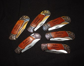 GROOMSMEN GIFTS - Set of 8 Engraved Pocket Knives - Perfect gifts for Best Man, Father of the Bride, Father of the Groom