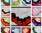 Girls double ruffle socks - Custom create Your Own Double Ruffle Socks in grosgrain ribbon