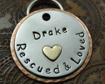Dog ID Tag Rescued and Loved-Custom ID Tag-Handmade Dog Collar Tag-Personalized Rescued Pet ID Tag
