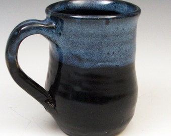 Coffee Mug in Black and Blue Drip Glaze